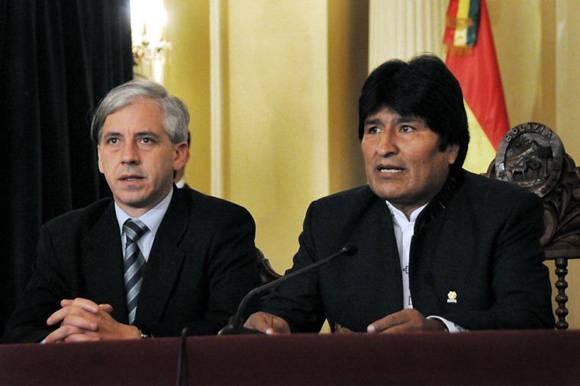Álvaro García Linera y Evo Morales. Foto: Tomada de www.telam.com.ar