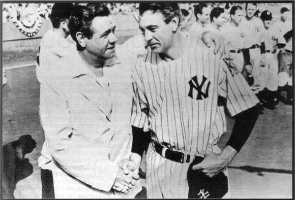 Babe Ruth con  Gary Cooper, cuando se filmaba The pride of de Yankees, sobre la vida Lou Gehrig.