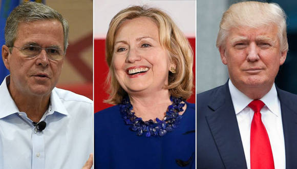 Jeb Bush, Hillary Clinton y Donald Trump. Foto tomada de ABC News.