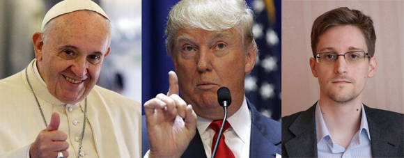 Los dos grandes favoritos, según expertos, son el Papa Francisco y Edward Snowden, pero la lista de candidatos incluye a polémicos personajes como Donald Trump.
