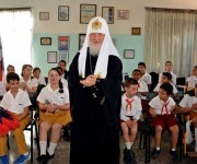 Su Santidad Kirill, Patriarca de Moscú y de Toda Rusia, visita la escuela Solidaridad con Panamá,  institución docente dedicada a niños con necesidades especiales, len La Habana,  Cuba, el 13