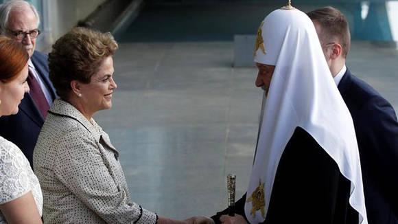 Patriarca Kiril se reúne con Rousseff en inicio de su visita a Brasil. Foto: Tomada de www.holaciudad.com