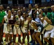 El equipo de baloncesto femenino de Pinar del Rio se proclamó Campeón de la Liga Superior de Baloncesto por cuarto año consecutivo, al ganarle a Guantánamo con marcador de 79-68, en el coliseo de la Ciudad Deportiva, en La Habana, el 31 de enero de 2016. Foto: Marcelino Vázquez Hernández / ACN