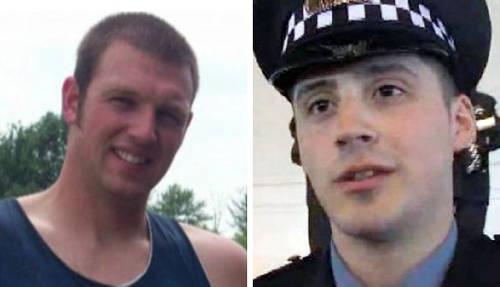 Timothy Loehmann y Robert Rialmo, los dos policías involucrados en los asesinatos de Rice y LeGrier. Imagen tomada de infoamericas.info