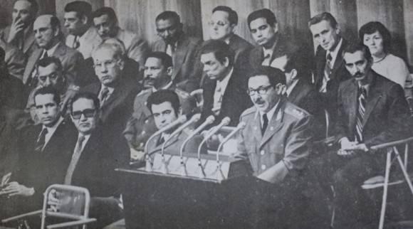 RAúl habla en el acto de proclamación de la nueva Constitución de la República de Cuba, el 24 de febrero de 1976. Foto: Archivo de Trabajadores