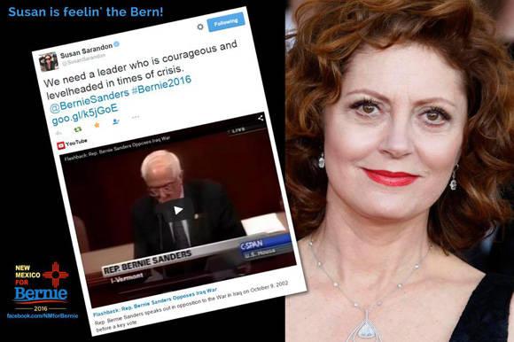 La reconocida actriz Susan Sarandon apoya al demócrata Bernie Sanders.