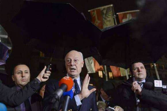 El enviado especial de la ONU para Siria, Staffan de Mistur, este miércoles en Ginebra. Foto: AFP.