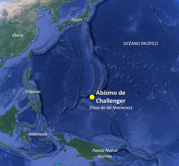Ubicación del Abismo de Challenger, en la Fosas de las Marianas del Océano Pacífico.