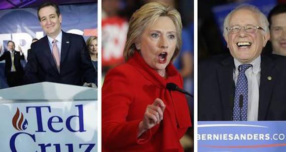El ultraconservador Ted Cruz, ganador del caucus en Iowa por el Partido Republicano. Hillary Clinton y Bernie Sanders prácticamente quedaron en empate técnico por el Partido Demócrata. Foto Ap y Afp.