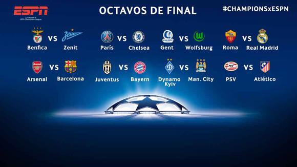 Inician los octavos de final de la Liga de campeones de Europa. Foto: ESPN Deportes.