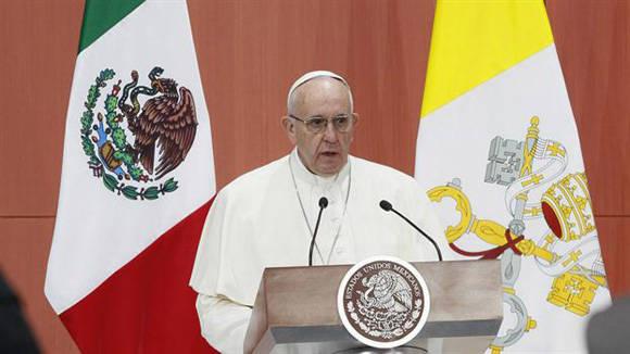 El papa Francisco denunció en México que los privilegios llevan a la corrupción y el narcotráfico Foto: Tomada de lanacion.com.ar