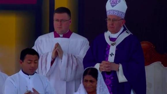 Papa Francisco durante la misa en Chiapas. Foto: @lopezdoriga.
