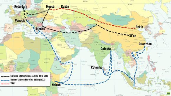 Gráfico que muestra el recorrido de la ruta de la seda. Foto: Rusia Today.