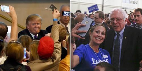 Las cúpulas de los dos partidos tradicionales en Estados Unidos han encendido alarmas ante el inesperado éxito de precandidatos insurgentes que hacen pensar a analistas y observadores si este proceso electoral marcará el fin del sistema bipartidista en el país. En la imagen, Donald Trump, del lado republicano, captado en Las Vegas, y Bernie Sanders (a la derecha), del bando demócrata, en Oklahoma. Foto: AFP y AP