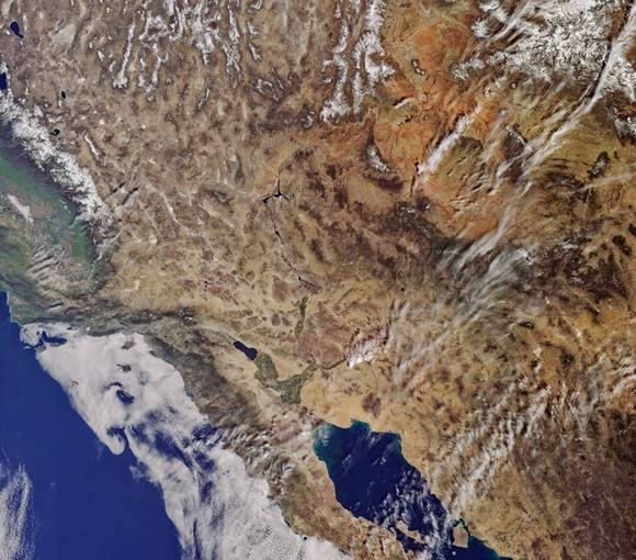 California vista desde Sentinel 3A. Foto: ESA.