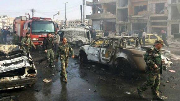 Atentado en Damasco. Foto: AP.