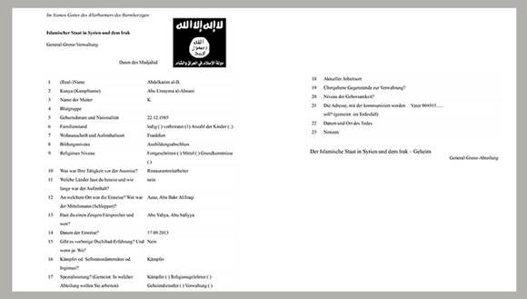 Documento del Estado Islámico publicado por medios en Alemania.Fuente: WDR/NDR/SZ.