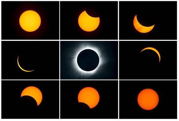 Imagenes de las distintas fases del eclipse solar, tomadas desde la playa de la isla de Ternate, en Indonesia. Foto: Beawiharta/Reuters.