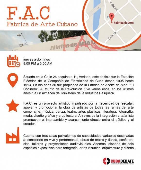 Infografia Fábrica de Arte Cubano