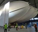 La compañía Hybrid Air Vehicles ha estado construyendo su Airlander 10 ship en el hangar en el este de Inglaterra