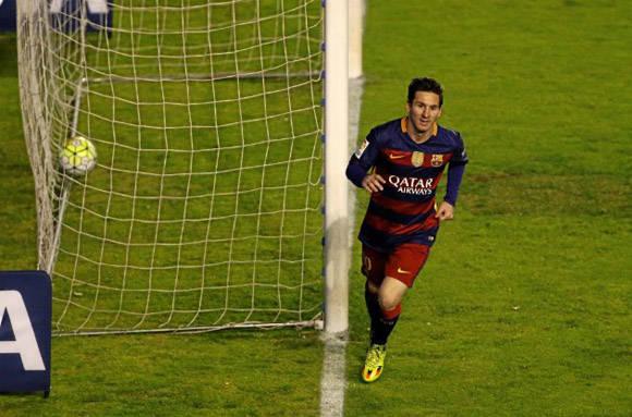 Messi celebra uno de sus goles. Foto: MARCA