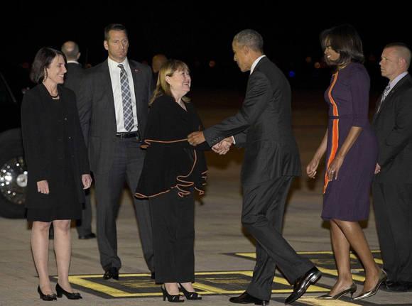 Obama fue recibido por la canciller argentina Susana Malcorra. Foto: AP