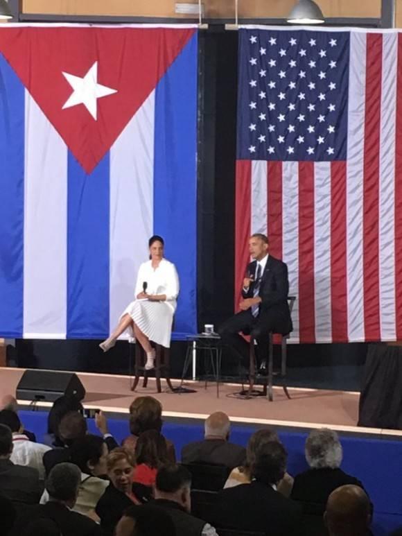 Intervención de Barack Obama, Presidente de los Estados Unidos de América, en el Foro de Negocios entre empresarios cubanos y estadounidenses, en La Habana, Cuba, el 21 de marzo de 2016. Foto: Juan Pablo CARRERAS / ACN