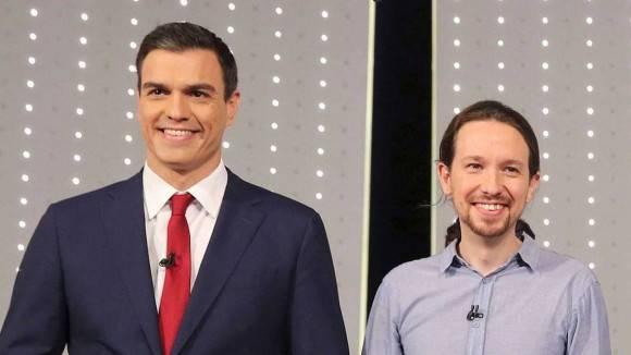El líder del PSOE, Pedro Sánchez, y Pablo Iglesias (Podemos)