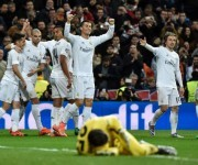 Cristiano celebra el primero del club blanco. Foto: AFP