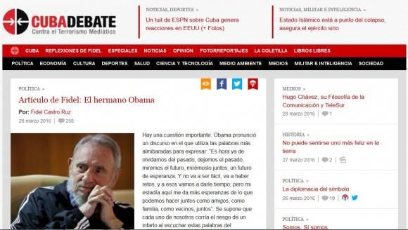 artículo de Fidel en portada de Cubadebate