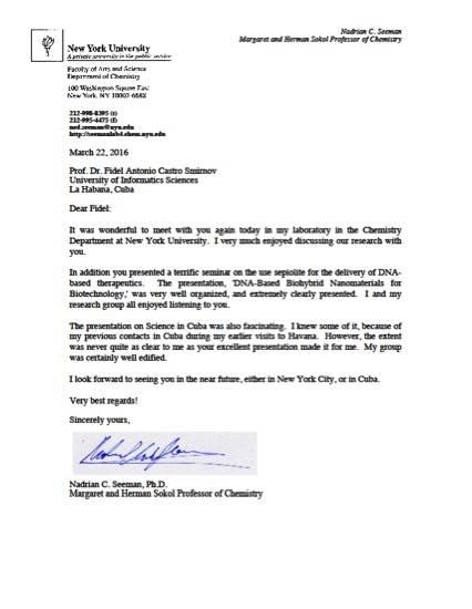 Carta del Dr. Nadrian Seeman, Premio Kavli de Nanociencias.