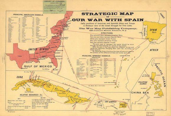 Publican en EEUU mapa utilizado por las tropas norteamericanas para intervenir en la guerra hispano-cubana