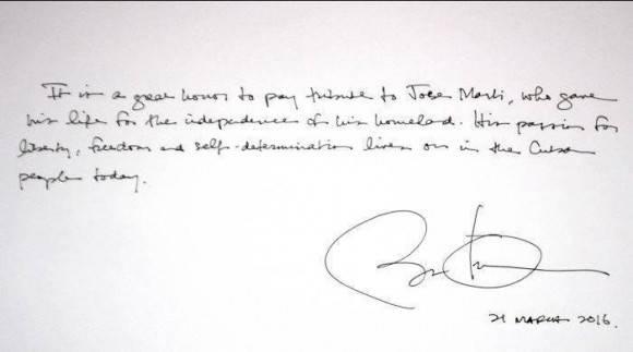 palabras de obama en libro de vista del memorial