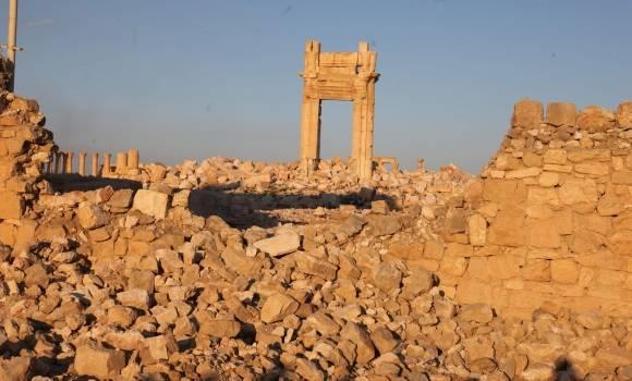 Palmira en ruinas a causa de la guerra.