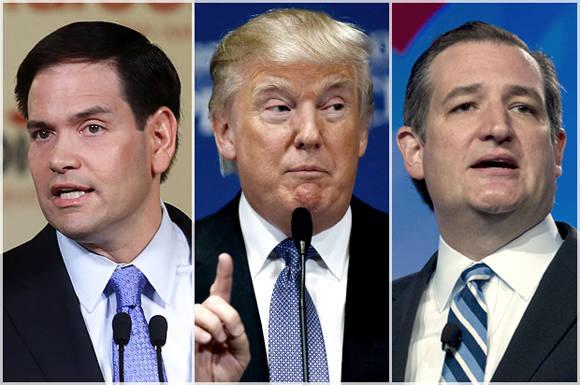 Donald Trump (centro) marcha primero por los republicanos. Segundo es Ted Cruz (der.) y tercero, Marco Rubio. Foto: AP/Jose Luis Magana.