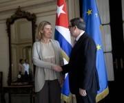Federica Mogherini, alta representante de la UE para los Asuntos Exteriores y Política de Seguridad y vicepresidenta de la Comisión Europea, junto al ministro de Relaciones Exteriores de Cuba, Bruno Rodríguez. Foto. Ismael Francisco/Cubadebate.
