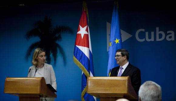 Federica Mogherini y Bruno Rodríguez. Foto: Ismael Francisco/Cubadebate.