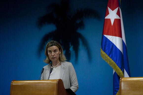 Federica Mogherini durante su visita a Cuba en marzo de 2016 en la sede del MinRex. Foto. Ismale Francisco/Cubadebate.