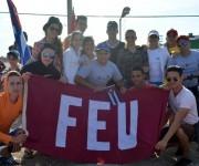 Aunque no pedalearon todo el tramo, llegaron refuerzos de Matanzas, Las Villas y Cienfuegos.