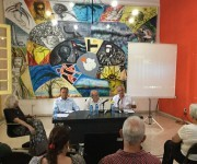 La actividad contó con la participación (de der. a izq) de Marta Harnecker, Alí Rodríguez, Ricardo Alarcón y Germán Sánchez. Foto. Cubadebate.