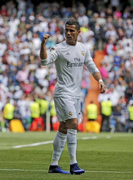 Cristiano celebró así su gol frente al Eibar. Foto: Ángel Rivero/ Marca.