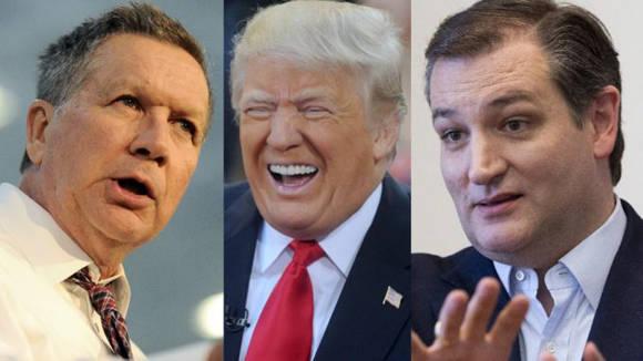 De izquierda a derecha: John Kasich (gobernador de Ohio), Donal Trump y el senador cubanoamericano Ted Cruz. Imagen tomada de world--news.com