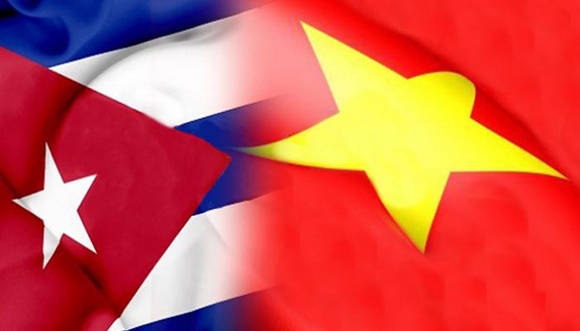 Flags of Cuba and Vietnam.
