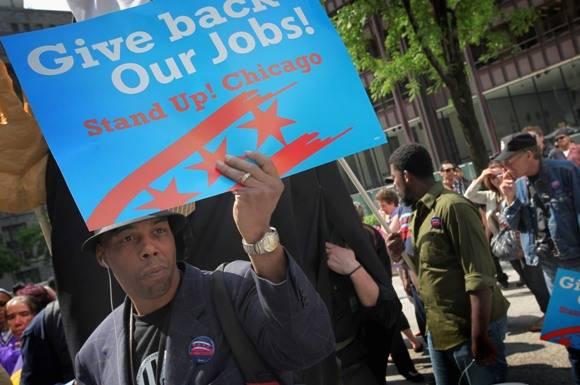 Estadounidenses se manifiestan contra el alto desempleo tras la crisis de 2008. Foto: Getty Images.