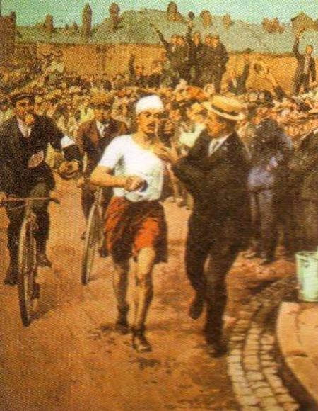 Dorando Petri, en la maratón de Londres 1908.