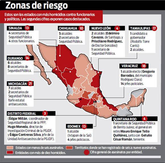 Estados con mas homicidios en Mexico