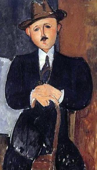 Hombre sentado con bastón