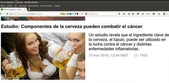 Imagen que Rusia Today utilizó para ilustrar una noticia sobre las propiedades anticancerígenas de la cerveza.