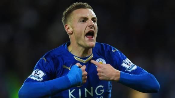 El jugador del Leicester, Jamie Vardy, es el segundo de los goleadores en la Premier, un tanto por detrás de Harry Kane, quien acumula 22 dianas. Foto: Getty Images.