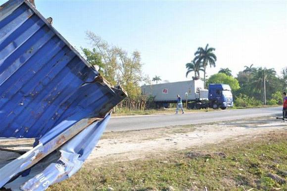 Lugar donde ocurrió el lamentable accidente en la tarde noche del sabado dos de abril. Foto: Vicente Brito/ Escambray.
